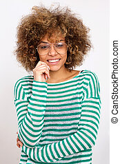 young african american woman smiling with glasses