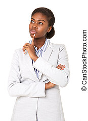 young african american woman thinking with hand to chin