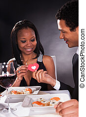 African Couple With A Heart In Hands