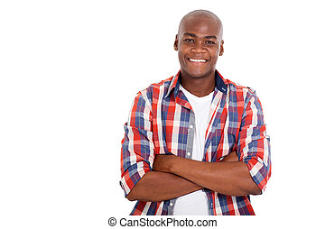 young african man with arms folded