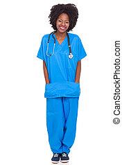 portrait of young african nurse full length portrait ...