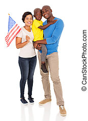 young american family with usa flag