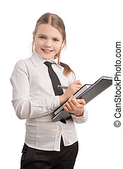 portrait of young and happy little business girl - smiling...