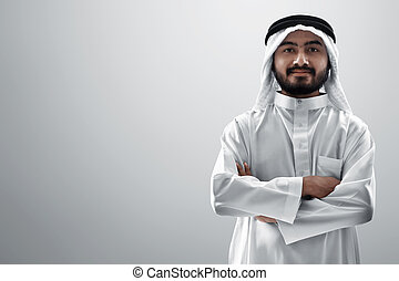 Portrait of young arab man isolated on white background