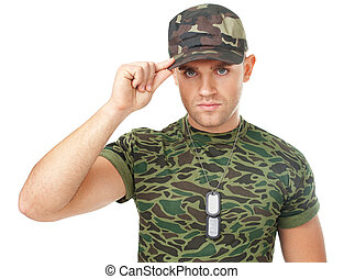 Portrait of young army soldier