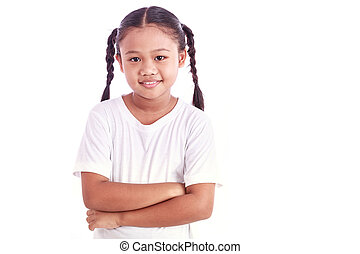 Portrait of young Asian girl isolated on white