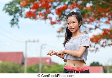 woman exercise in nature garden