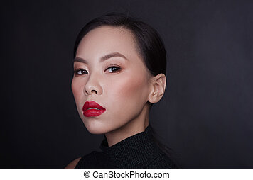 Portrait of young asian woman with red lips