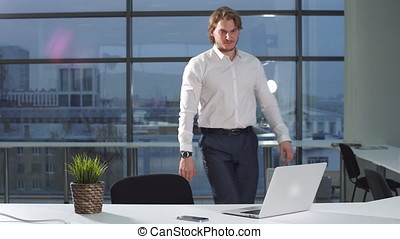 Portrait of young attractive businessman working at a desk, use laptop in office.