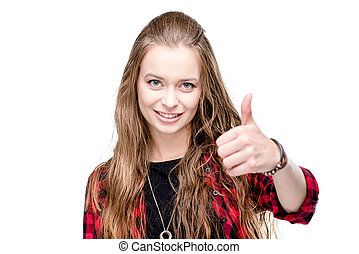 portrait of young attractive woman with thumb up looking at camera isolated on white