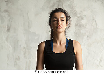 Portrait of young attractive yogi woman