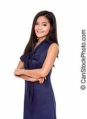 Portrait of young beautiful Asian woman smiling