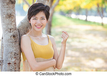 portrait of young beautiful asian woman with short hairs style t