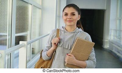 Portrait of young beautiful caucasian confident female...
