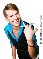 Portrait of young beautiful hairdresser man wearing blue and black with scissors on isolated white background