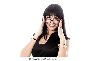 Portrait of young beautiful happy brunette woman with eyeglasses looking at camera smiling, isolated on white.
