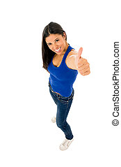 portrait of young beautiful latin woman giving thumb up happy and excited