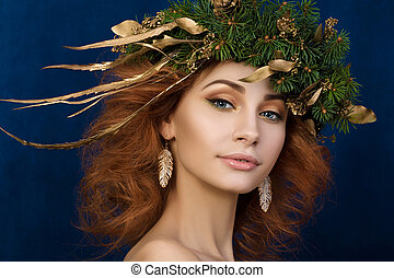 woman with firry wreath