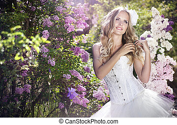 portrait of young beautiful woman girl in white dress