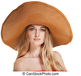 Portrait of young beautiful woman in hat