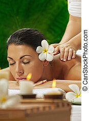 in spa - portrait of young beautiful woman in spa...