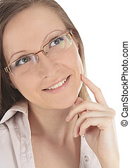 Portrait of young beautiful woman in spectacles over white