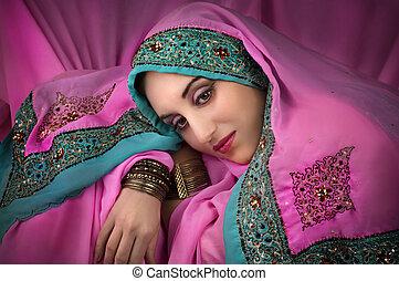 beautiful woman in traditional indian costume