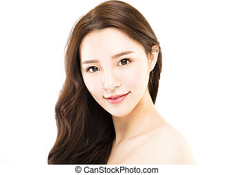 Portrait of young beautiful woman on white background