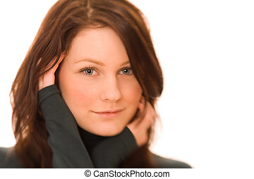 young beautiful woman - Portrait of young beautiful woman on...