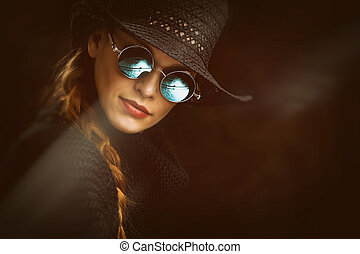 Young beauty woman in steampunk round glasses - Portrait of ...