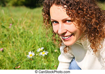 Portrait of young beauty woman outdoor
