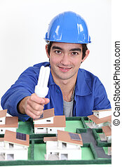 portrait of young blue collar posing before model