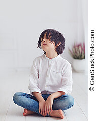 portrait of young boy, anime character, sitting barefoot on the floor