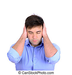 Portrait of young business man covering his ears