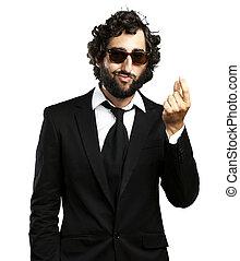 business man gesturing