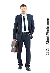 portrait of young business man holding briefcase in hand...