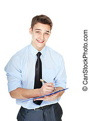 young business man taking notes isolated on white background