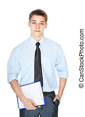 young business man with clipboard isolated on white background