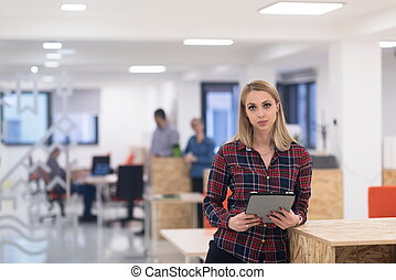 portrait of young business woman at office with team in ...