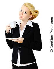 Portrait of young business woman in black suit, isolated over white background