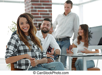 young business woman in creative office