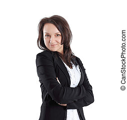 portrait of young business woman isolated on white. photo with copy space