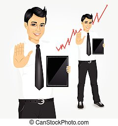 young businessman with tablet screen