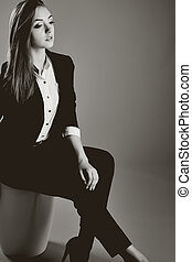 Portrait of young caucasian woman.