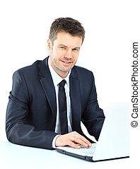 Portrait of young confident business man with laptop