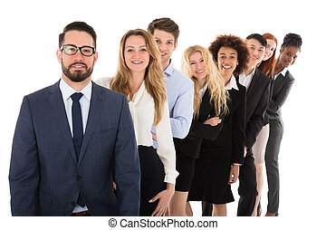 Confident Businesspeople Standing In Row