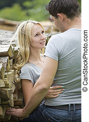 young couple in countryside