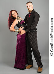 young couple in love posing at studio