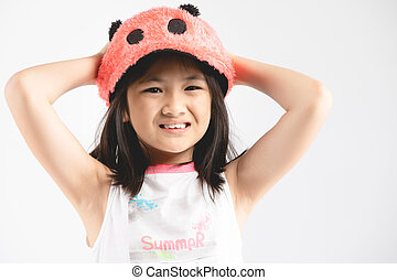 Portrait of young cute asian teenage with smile face.