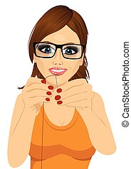dressmaker woman with glasses putting sewing thread